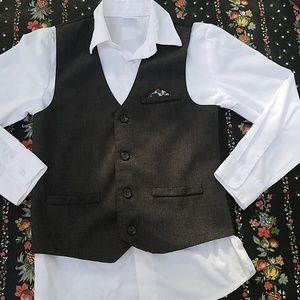 Boys white shirt with tuxedo vest size 10